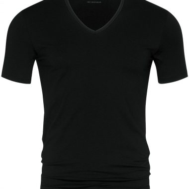 V-neck-shirt-Dry-cotton-46007-Zwart